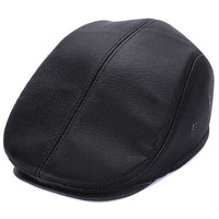 Solid Color Cowhide Leather Berets For Men Autumn Winter Hat Flat Visor Peaked Cap Male Newsboy