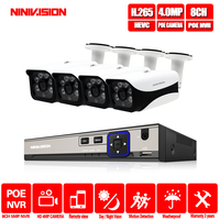 H.265 8CH 4CH 5MP CCTV NVR IP Camera System 4PCS 4mp Waterproof Surveillance Kit PoE 48V Security Camera Kit Motion Detection