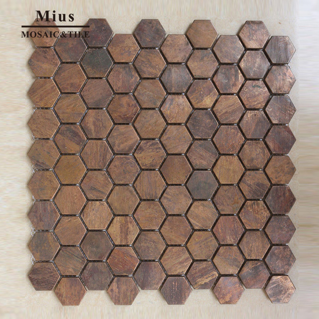 Hexagonal Copper Kitchen Mosaic Tile Design A6yb169