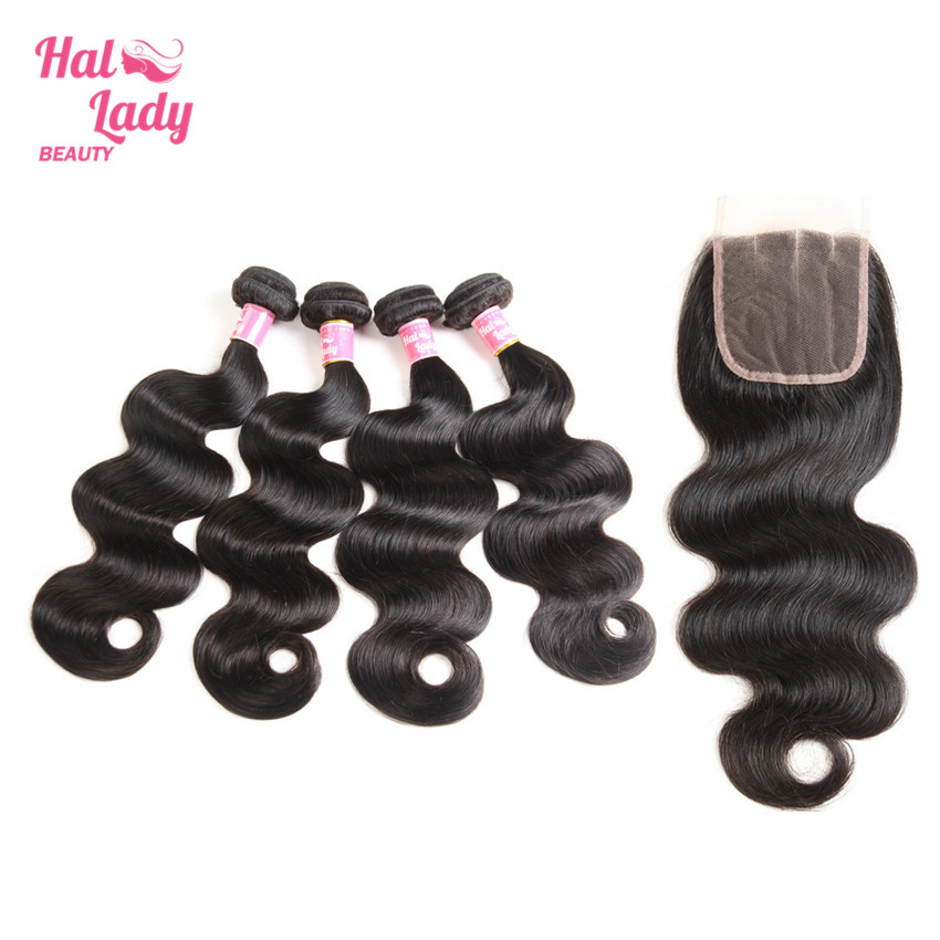 Halo Lady Beauty 4 Bundles Peruvian Body Wave Human Hair with Closure Three Part Lace To ...