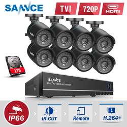 SANNCE 8CH CCTV Security System 1080N DVR 8pcs 720P TVL Weatherproof Outdoor CCTV Cameras 8 channels Video Surveillance kits 1TB