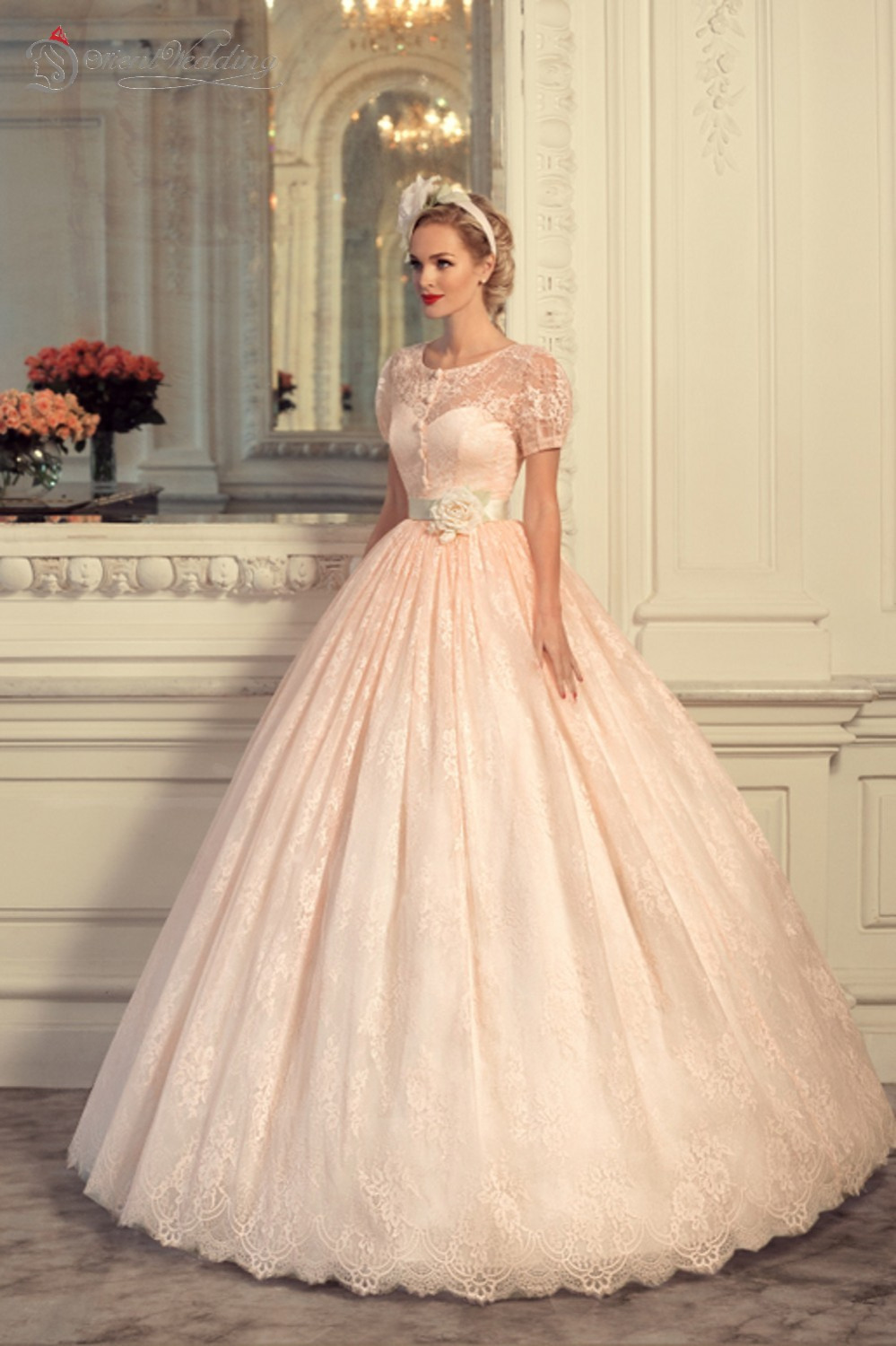 Blush pink wedding dresses vintage wedding dress 2015 vestido de blush pink wedding dresses vintage wedding dress 2015 vestido de novia fotos reales peach wedding dresses with short sleeves in wedding dresses from junglespirit Image collections