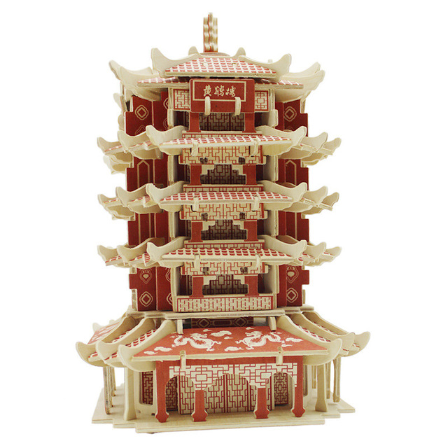 Kids Educational DIY 3D Puzzle Toys Wooden Assembly Ancient Chinese Yellow Crane Tower