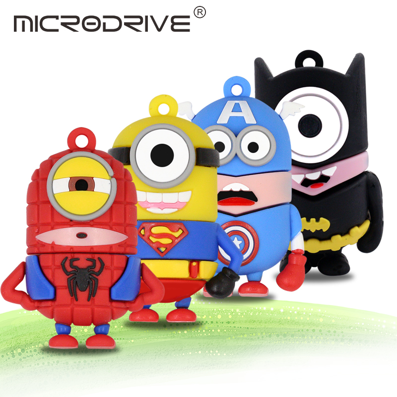 все цены на Real capacity USB minion super usb flash drive hero man bat man 2.0 USB Memory Pen Drive Stick 8g 16g 32g 64g pen drive no chain онлайн