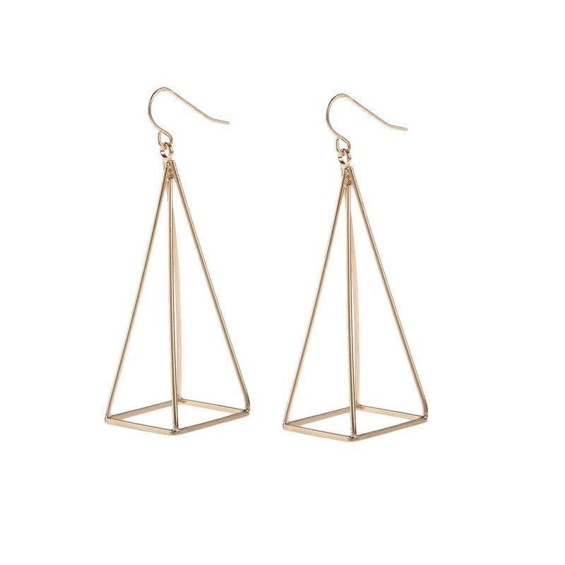 Us 1 26 15 Off Ek283 European American Steampunk 3d Pyramid Triangle Piercing Ear Drop Earring For Women Dangle Jewelry Gift Bijoux Brincos In Drop