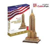 Giocattolo educativo 1 pz cubicfun usa l'empire state building 3d di carta fai da te puzzle famoso modello kit per bambini boy toy regalo