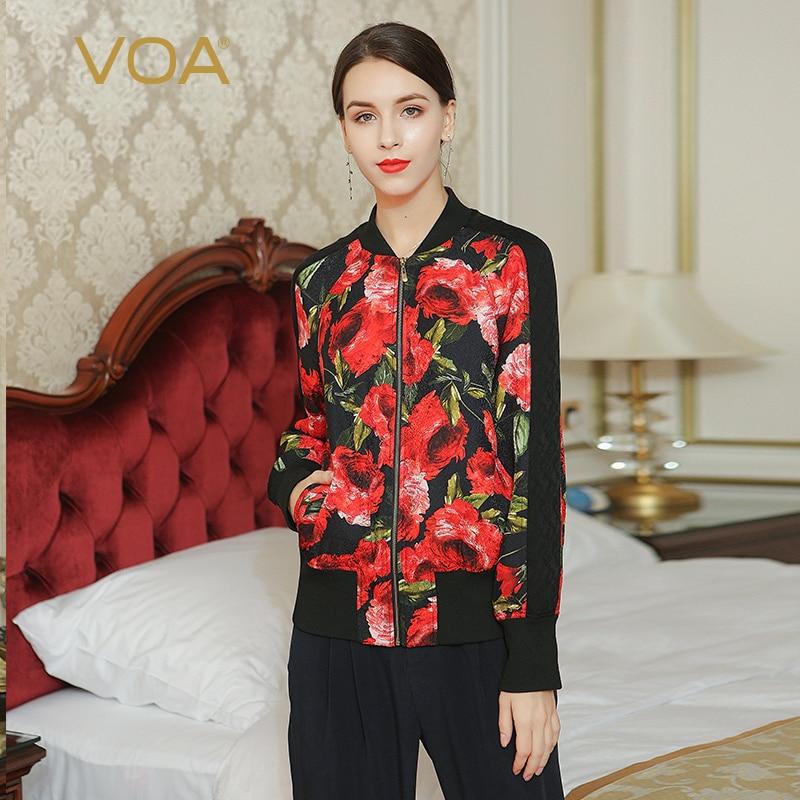 все цены на  Spring cotton-padded jacket for women red rose print parkas ladies winter zippers jacket M6218  онлайн
