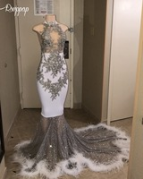 Long Sexy Trumpet Prom Dresses 2019 Sheer High Neck Sparkly Sequin Feathers African Black Girl White Mermaid Prom Dress