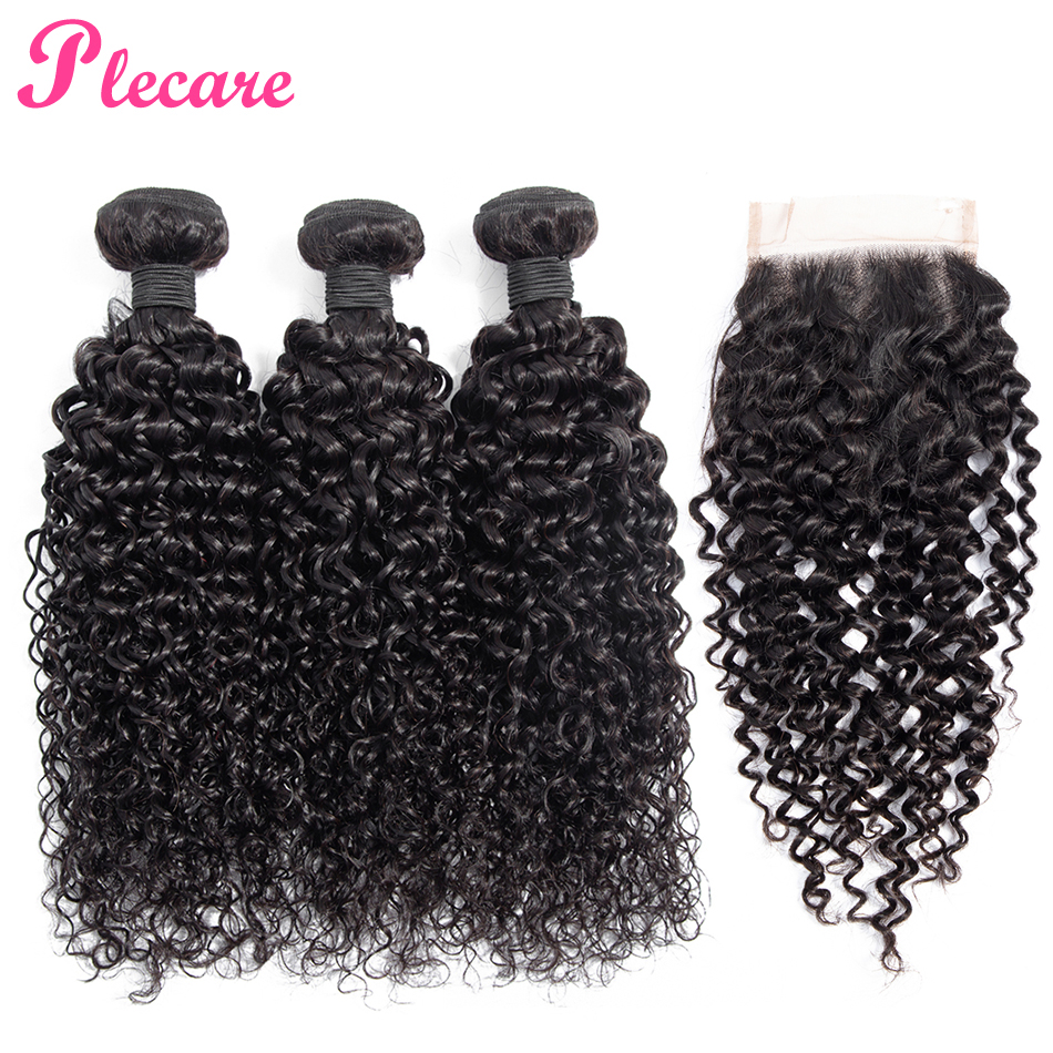 Plecare Bundles With Closure Brazilian Curly 3 Bundles With Closure 100 Human Hair Weave Bundles With