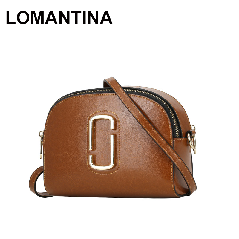 4eae044cd88 LOMANTINA Stylish Genuine Leather Women Bags Double Zipper Girls Shoulder Bag  Ladies Messenger Bags Classic Purses-in Top-Handle Bags from Luggage & Bags