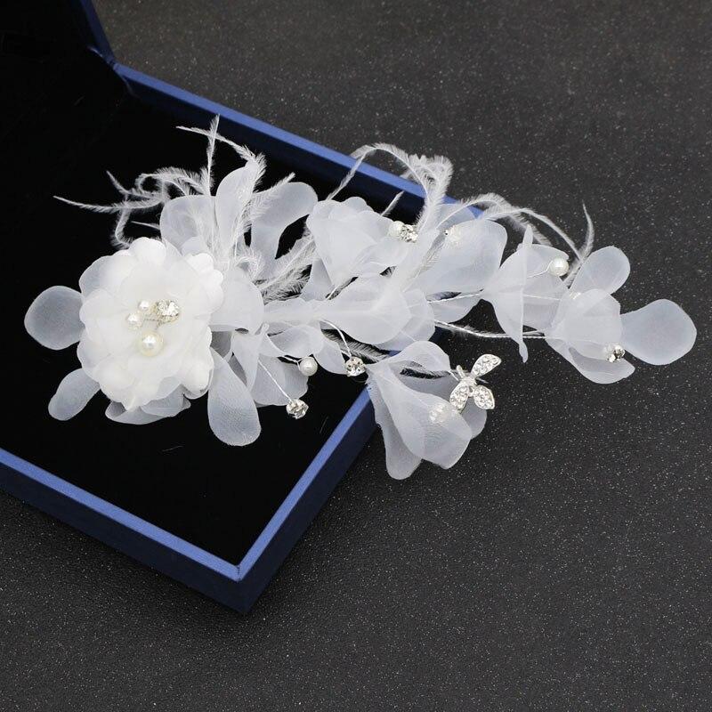 Alexzendra Bridal Hair White Feather Crystals Flower Pearl Clip Headwear For Women Headpieces Bride Accessories Headwear