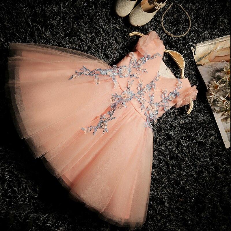 Robe de bal 2017 robe de soirée de fille de fleur bébé anniversaire tutu robes pour filles dentelle bébé robes enfants robe de mariée Appliques QX350