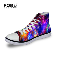 Lace Up Women Canvas Shoes High Top Galaxy Star Print Canvas Shoes For Women Casual Sport