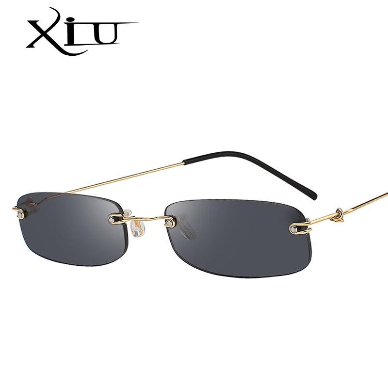 XIU Senza Montatura In Metallo Occhiali Da Sole Uomo Donna Fashion Brand Occhiali Da Sole Retro Vintage Designer Quadrato Nero Occhiali Oculos UV400