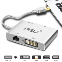 4 in 1 USB 3.0 to HDMI 1080P HD USB to DVI/VGA/HDMI/LAN Converter Cable Video Audio USB to VGA Adapter for Laptop Projector PC