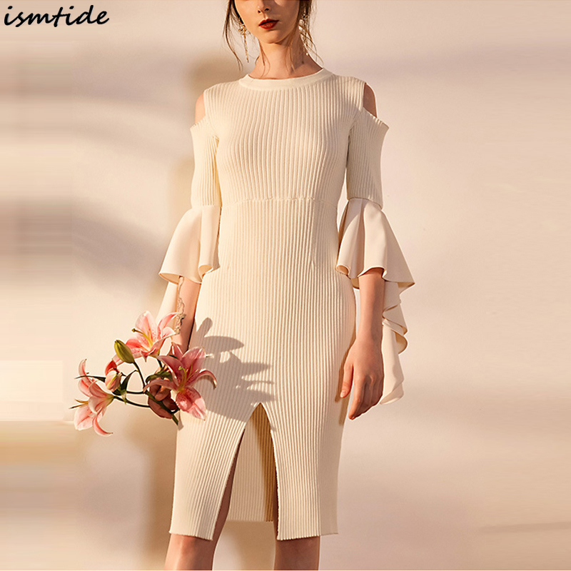 Knitted Sweaters Dress 2018 New Spliced Ruffle Spring Dress Women Off Shoulder O-Neck Pullover Sweater Split Knee Length Dresses pocket open shoulder split full length dress