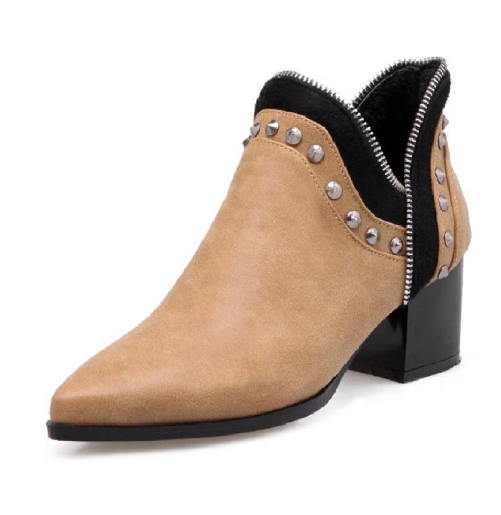 2017 autumn ankle boots for women pointed toe fashion shoes black solid color rivet leather high heels martin boots hot sale