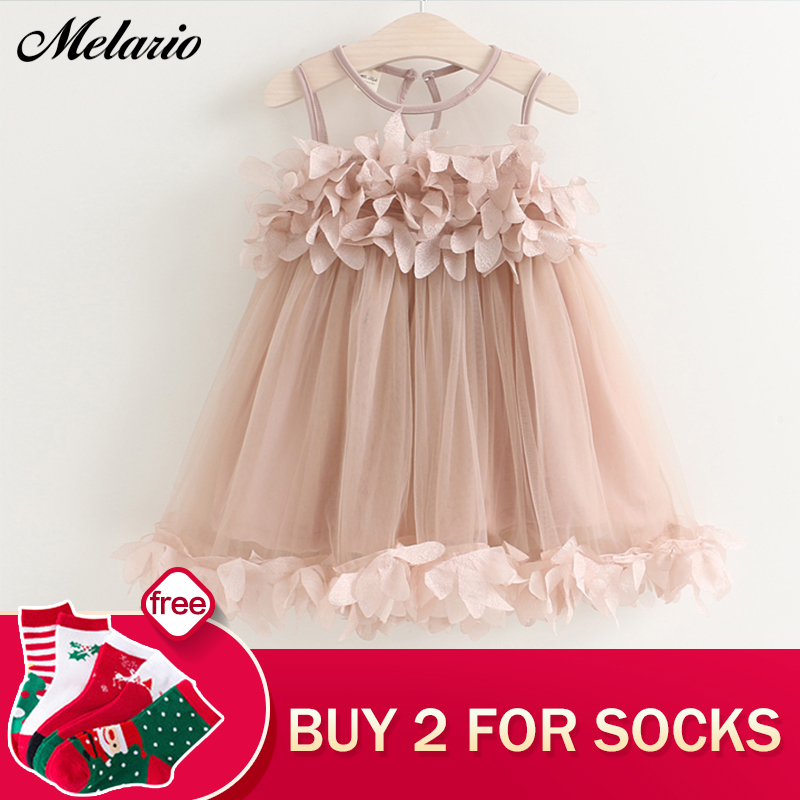 Melario Girls Dresses 2018 Sweet Princess Dress Baby Kids Girls Clothing Wedding Party Dresses Children Clothing Pink Applique 2016 new item girls summer dresses bowknot children lace wedding dresses baby clothing sleeveless kids formal party dress