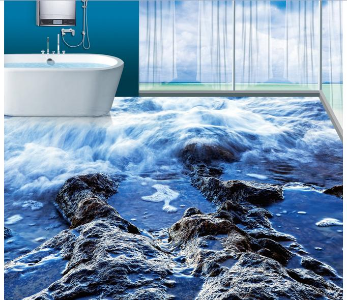 ФОТО 3d wallpaper custom 3d wall floor painting wallpaper Blue sea reef 3 d bathroom floor tile floor room photo floor wallpaer