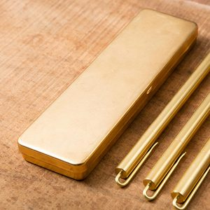 Image 1 - vintage Brass Handcrafted Pen Pencil Case Holder Stationery Storage Box Stationery Container Creative school Office Supplies