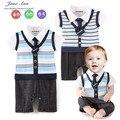 Детские господа костюм 2 цвета светло-голубой и темно-синий полосатый комбинезон младенческой малыша с коротким рукавом летом галстук-бабочка одежда