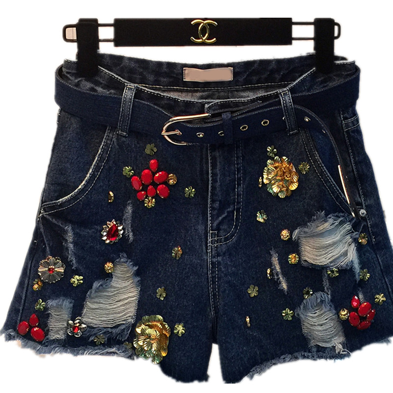 16 France USA England New Embroidered Flares Beading Colored Short Jeans pants Personality Female Youth Trousers Punk pants