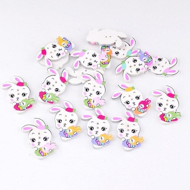 10 unids 2 agujeros mixto dibujos animados patrón de conejo color ...