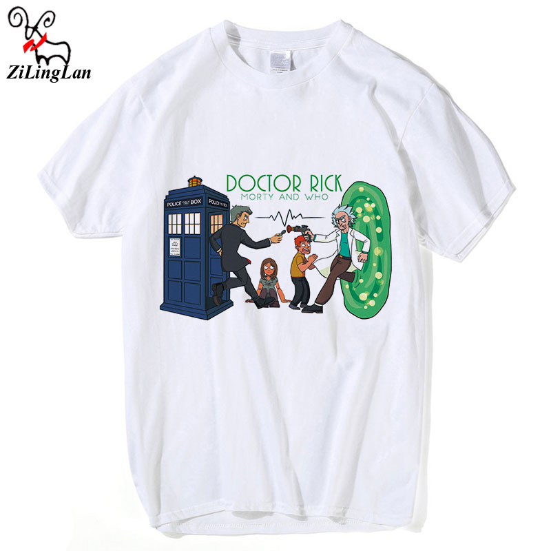 Zilinglan Doctor Rick Morty And Who Mens t shirts Men Fashion Tops Tees Mens T-shirt Rick And Morty Cotton Short Sleeve Tees