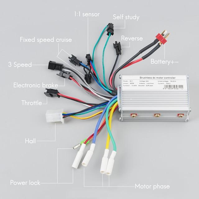 Контроллер электровелосипеда 250 Вт 350 Вт 24 в 36 в 48 в двойной велосипедный контроллер двигателя e велосипед Скутер трехколесный Бесщеточный bldc контроллер