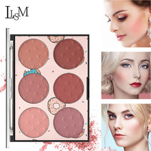 LISM 6 Colors Blush Palette Natural Brighten Blusher Makeup Waterproof Long-Lasting Face Rouge pigment Cosmetics