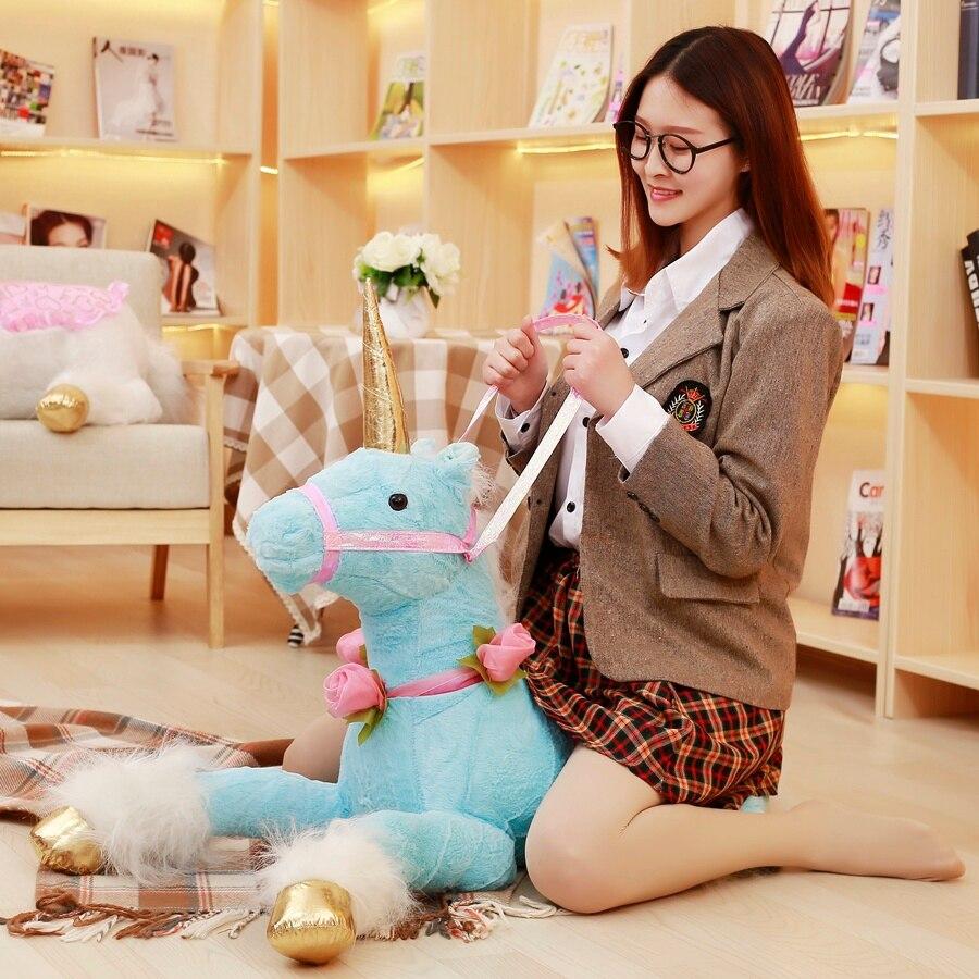 85 cm rose bleu blanc peluche licorne grande taille oreiller en peluche Animal en peluche jouets marque pour cadeau de fête des enfants
