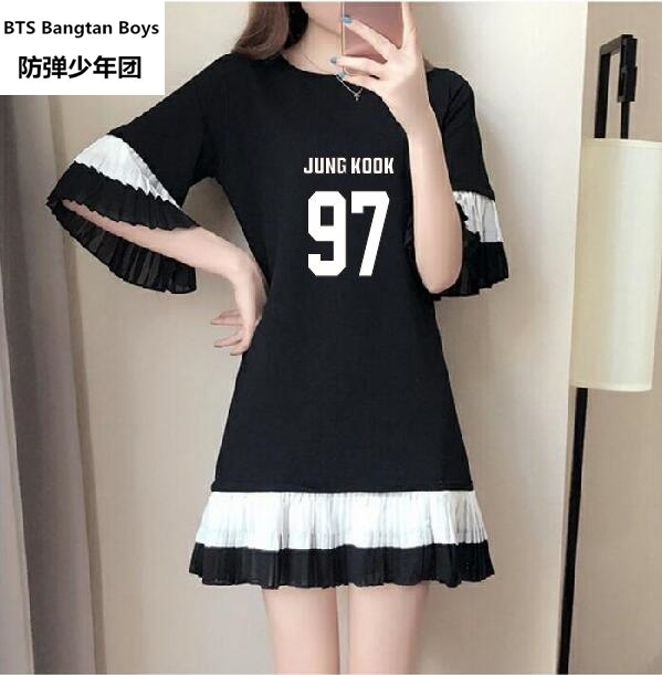 NEW k-pop BTS Bangtan Boys summer College winds Short-sleeved shirt dress Korean fashion ...