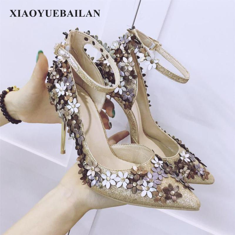 Spring And Summer, New Fashion Comfortable, Pointed High-heeled Shoes, Women's Flowers Buckle Shoes 2016 spring and summer free shipping red new fashion design shoes african women print rt 3