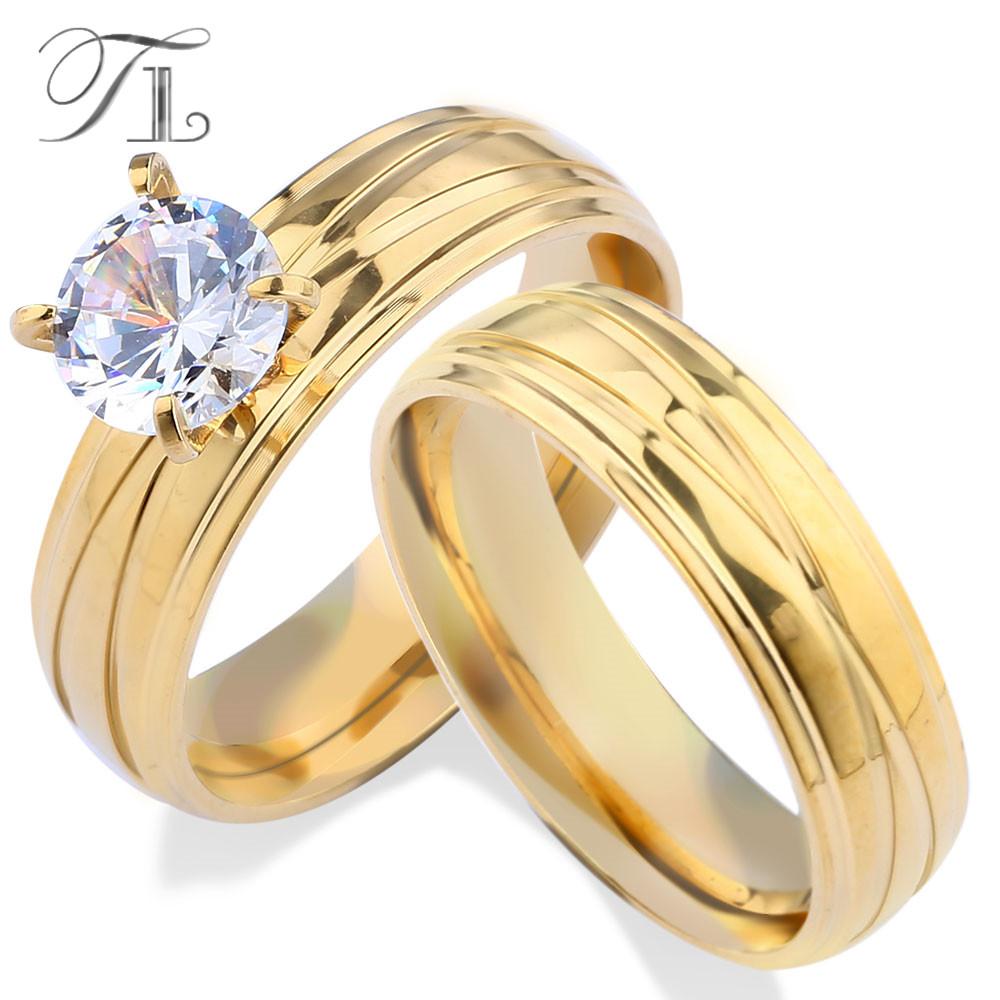 TL Unique Engagement Wedding Ring Set Women's Pair Rings Stainless Steel Double Ring Set for Women Bridal with Large Rhinestone rhinestone detail layered rings set 3pcs