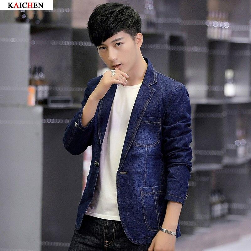 New Men s Denim Blazer Fashion One button Dress Blazer Casual Cotton Suit Jacket Plus Size