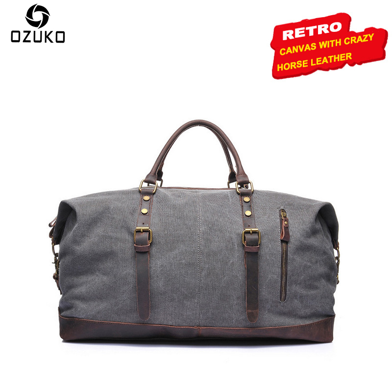 OZUKO Large Capacity Vintage Canvas Men Bag Tote Waterproof Travel Bag Casual Handbag Canvas Crossbody bags Fashion Shoulder Bag mybrandoriginal travel totes wax canvas men travel bag men s large capacity travel bags vintage tote weekend travel bag b102