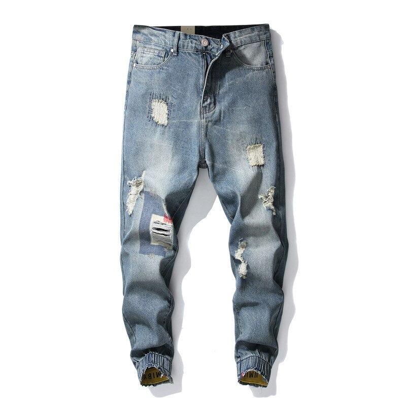 MORUANCLE мужские джинсы в стиле хип хоп с дырками, модные рваные джинсы Джоггеры для мужчин, рваные джинсовые брюки, эластичные манжеты, размер