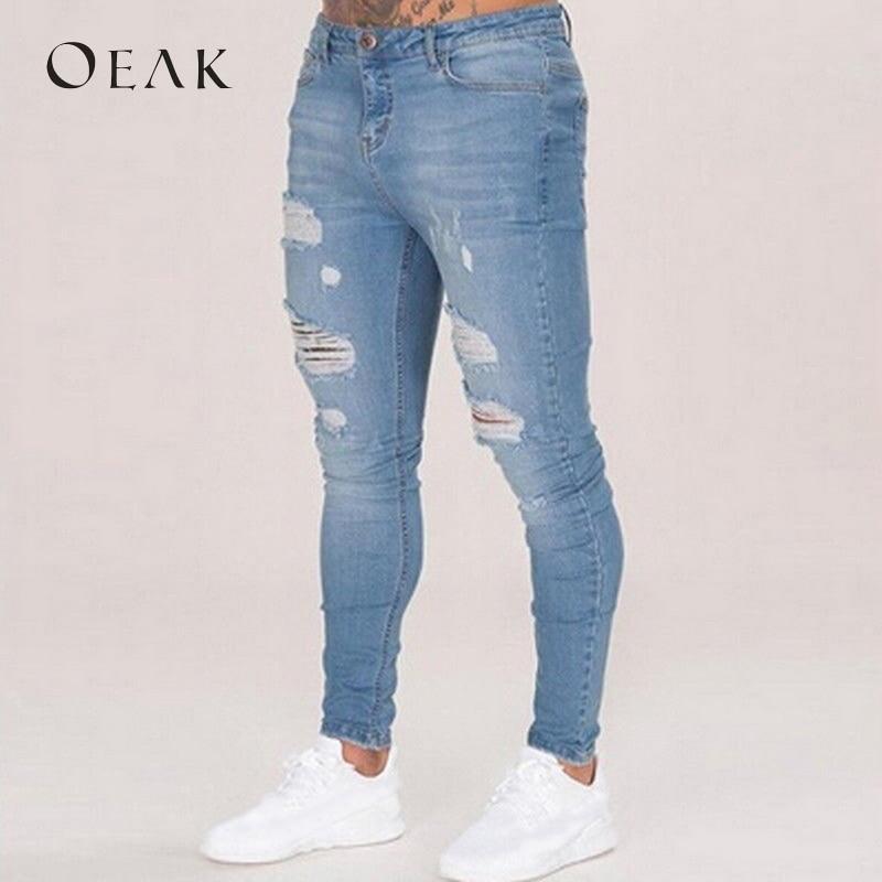 Oeak 3XL Skinny   Jeans   for Men Holes Pencil Pants Mens Clothes Denim Blue Black Ripped   Jeans   Male Trousers   jeans   hommes 2018