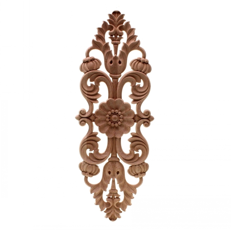RUNBAZEF Dongyang Wood Carving Solid Flower European Style Decorative Furniture Cabinet Door Carved Retro Home Decor