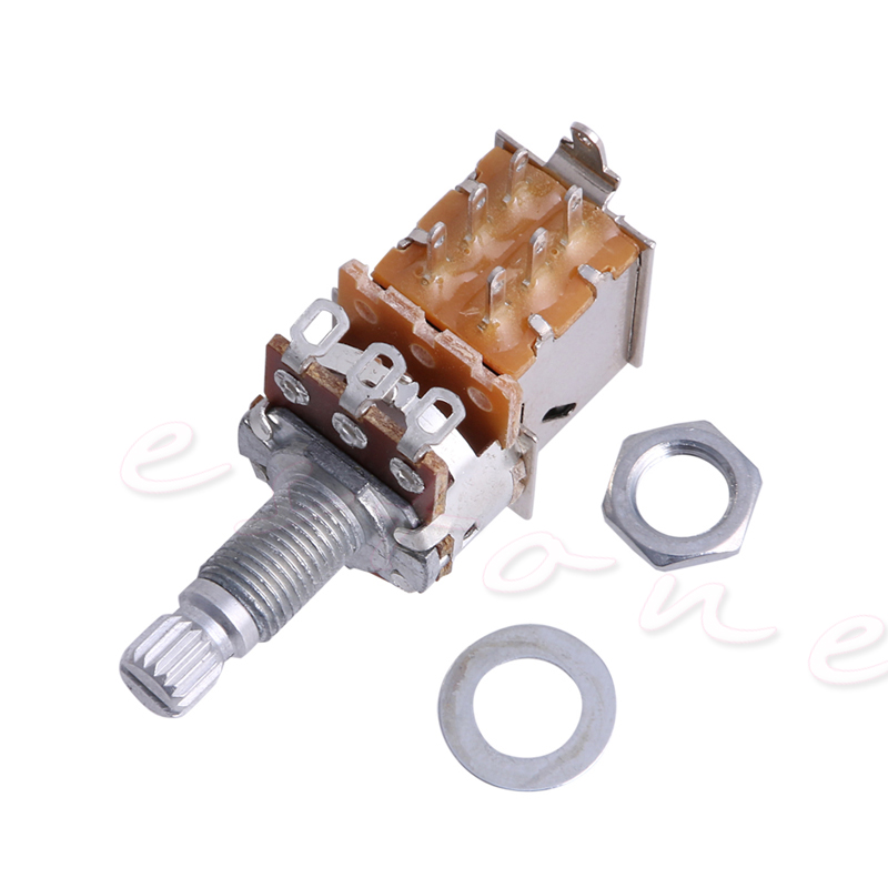 Купить с кэшбэком B500K Potentiometer Push Pull Switch Splined DPDT Pot Shaft18mm Electric Guitar Tone Volume Parts  Push switch