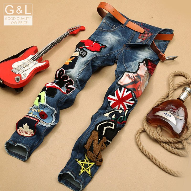 ФОТО 2016 New  New Personality Brand Jeans Men'S Jeans Straight Legged Long Trousers Much Cloth Stitching Fashion Pants For Men