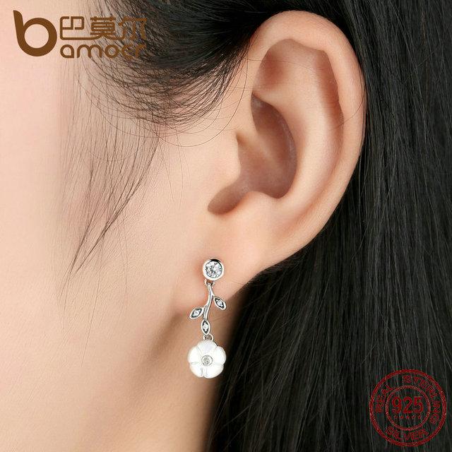 Sterling Silver White Flower Pendant Earrings