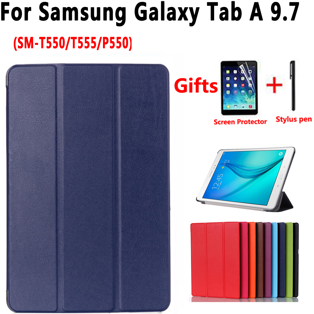 Smart Case for Samsung Galaxy Tab A 9.7 T550 T555 P550 SM-T550 SM-T555 Cover Slim Stand Pu Leather Case for Samsung Tab A 9.7 pu leather handheld smart cover case for samsung for galaxy tab s3 new for samsung for galaxy tab 3 9 7 case cover stand