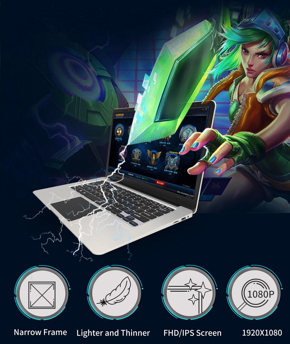 Jumper EZbook 3 Laptop Intel apollo N3350 14 Inch Windows 10 Narrow Frame notebook computer 1920x1080 FHD 4GB 64GB ultrabook (2)