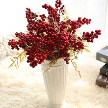 1PC Christmas Red Artificial Fruit Berries Beans Flowers Home Decorative Fake For Wedding Party Garden Decor Floral