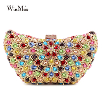 Hot Sale Colorful Butterfly Shape Clutch Bag Women Evening Bag Luxury Rainbow Crystal Clutch Party Bag