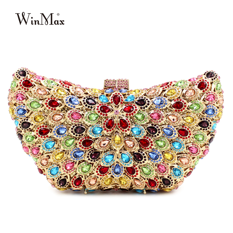 Hot sale colorful butterfly shape Clutch bag women evening bag Luxury rainbow crystal clutch party bag Bling Purse wedding bag characteristic floral and butterfly shape lace decorated body jewelry for women