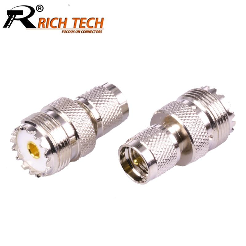 UHF female SO239 PLUG jack to mini UHF female plug COAX straight adapter MiniUHF