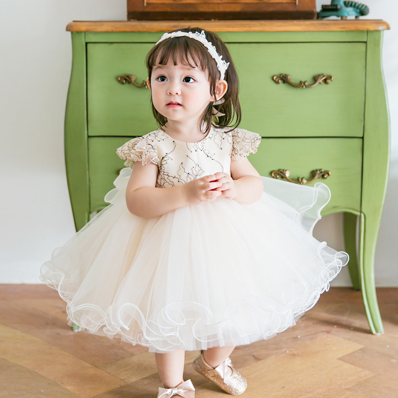 2018 Baby Dress Summer Princess Girl Dresses Tulle Bow Big Ball Gown Lace Flower Girl Dress Kids First Communion Dress E323 стоимость