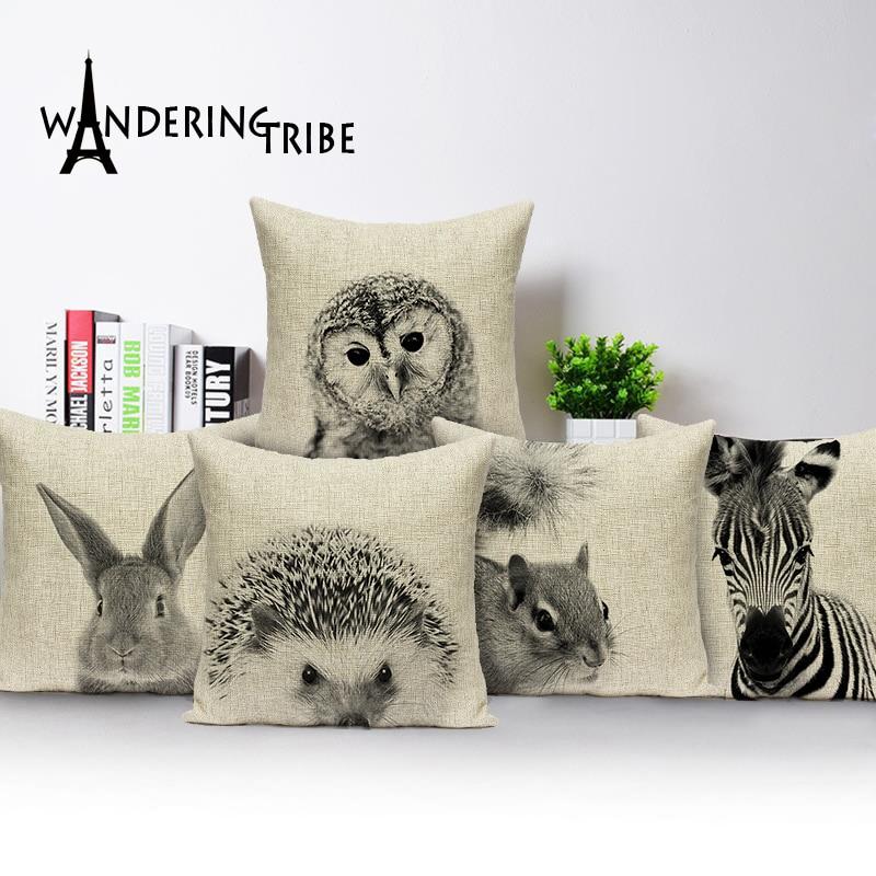 Animal Pattern Cotton Linen Sofa Waist Cushion Cover Pillow Case Home Decor